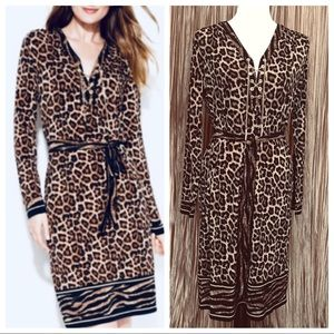 Michael Kors Rib V-Neck Leopard Print Dress Size M